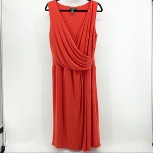 Lauren Ralph Lauren Bright Orange Midi Dress